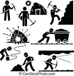 עובד, חפור, עמול, כורה, אנשים