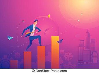 עובר, מוטיבציה, מושג, עסק, מלא, הוא, encouragement., graph., מכירות, איש עסקים, corresponds, לרוץ, גידול, זמן, חדש, קו, להנות, הזדמנות, יותר גבוה