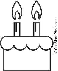 עוגה, יום הולדת, -, תאר, איקון