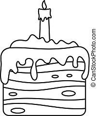 עוגה, מתוק, איקון, סיגנון, תאר