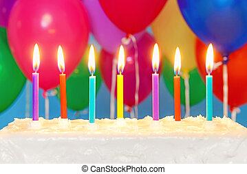 עוגה, נרות, בלונים, רקע