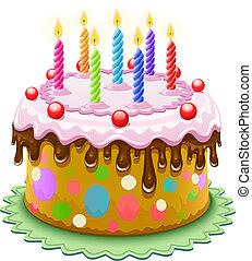 עוגה, נרות, יום הולדת, להשרף