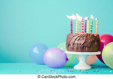 עוגה, נרות, יום הולדת, צבעוני, שוקולד