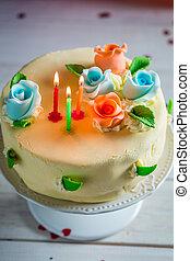 עוגה, נרות, יום הולדת, שלושה