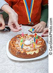 עוגה, נרות, יום הולדת, תאורה