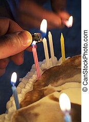 עוגה, נרות, תאורה