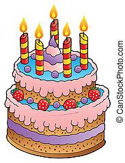 עוגה, נרות, תותי שדה