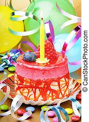 עוגה, נר, יום הולדת, צבעוני