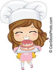 עוגה, קטן, לאפות, ילדה