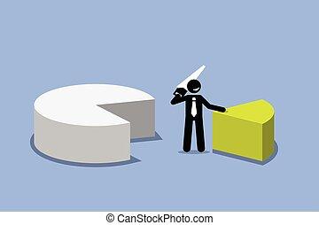 עוגה, chart., לחתוך, איש עסקים, חתיכה, out