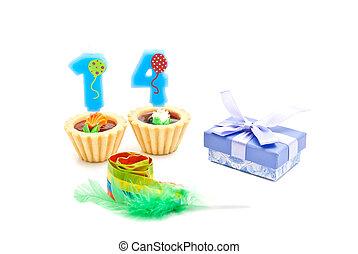 עוגות, מתנה, נרות, שנים, ארבעה עשר, שרוק, יום הולדת