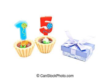 עוגות, נרות, חמשה עשר, מתנה של יום ההולדת, שנים
