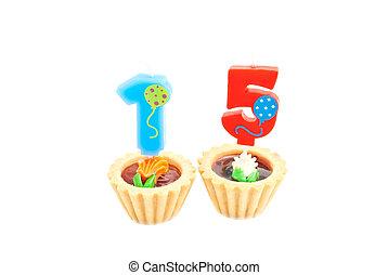 עוגות, נרות, שנים, יום הולדת, לבן, חמשה עשר