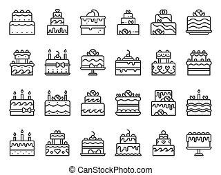 עוגות, קבע, אומנות, תאר, נרות, icons., כאפכאק, מאפיה, וקטור, ביתי, טעים, מתוק, עוגה, קו, קינוח, איקון