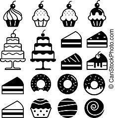 עוגות, illustration., איקונים, set., מאפיה, וקטור