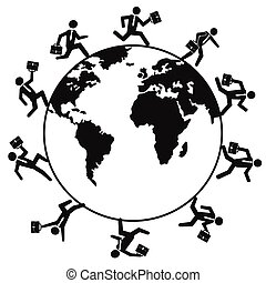 עולם, לרוץ, מסביב, אנשים של עסק