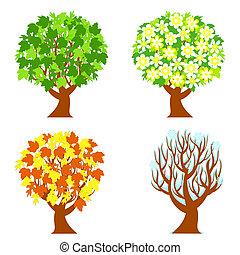 עונות, ארבעה, עצים