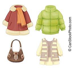 עונתי, התלבש, קבע, טיח, רפד, girls., פארקה, בגדים