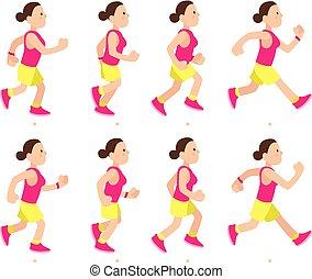 עורר, ללכת, אישה, רוץ, אתלטי, animation., אופי, צעיר, מהיר, ציור היתולי, סמן, לרוץ, וקטור, walk., דוגמה, ילדה, ספורט, או