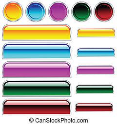 עיגולים, כפתורים, כד, מגוון, צבעים, מבריק, scaleable, מלבנים