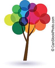 עיגולים, עץ, ססגוני, image., אושר, life., איקון, וקטור, טוב, מושג