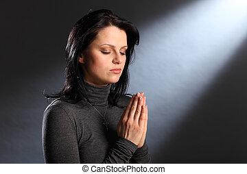 עיניים, אישה, צעיר, דת, רגע, סגור, תפילה