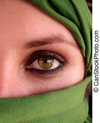 עיניים, ערבי, ירוק, ילדה, אינטנסיבי