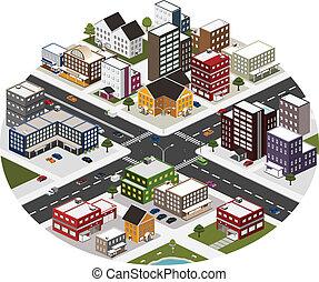 עיר, איזומטרי, קטע, גדול