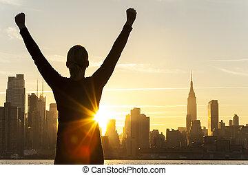 עיר, אישה, מצליח, קו רקיע, יורק, חדש, עלית שמש