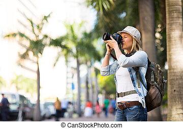 עיר, לקחת, תייר, צילומים