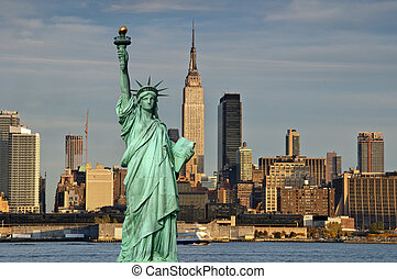 עיר, מושג, דרור, יורק, פסל, חדש, תיירות