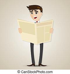 עיתון, איש עסקים, לקרוא, ציור היתולי