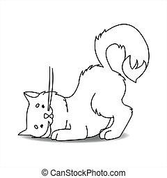 עכבר, מיתאר, וקטור, מחפש, cat., mice., חמוד, rustling, floor., לבן, מקשיב, מתחת, הזמן, חתול, דוגמה, page., צידים, הפרד, תאר, לצבוע, עכברים, רקע.