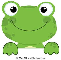 עלה, חתום, מעל, צפרדע, לחייך