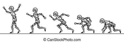 עלה, כמו אדם, לרוץ, רקע, לבן, רובוט
