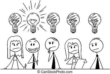 על, קבץ, אנשים של עסק, לחשוב, בעיה, ציור היתולי