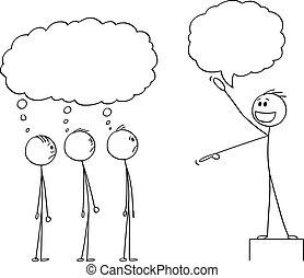 על, שלו, דחוס, לחשוב, מתלהב, מנהיג, לדבר, וקטור, משהו, הם, עובדים, התלהבות, ציור היתולי, בוס, איש, או