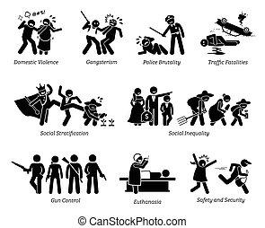 עניינים, הבן, קריטי, בעיות, הדבק, פיכטוגראם, סוציאלי, icons.