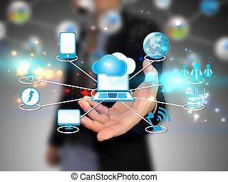 ענן, להחזיק, איש עסקים, טכנולוגיה, לחשב, מושג
