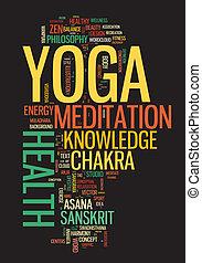 ענן, מושג, מילה, illustration., yoga.