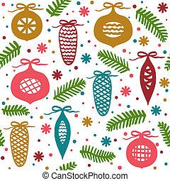 ענפים, קונוסים, תבנית, seamless, כדורים, חג המולד