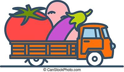 ענקי, וקטור, משאית, vegetables., צבעוני