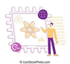 ענק, הנדס, quantum, symbols., וקטור, לחשב, code., בינה מלאכותית, ליניארי, בינארי, דוגמה, אופי, טכנולוגיה, אטום, סמל, זכר, להצביע, או, concept., מחשב, supercomputing, להנדס, שבב זעיר