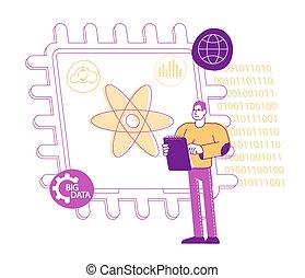 ענק, quantum, הנדס, סמלים, מחברת, וקטור, לחשב, עמוד, ליניארי, דוגמה, לחתום, אופי, טכנולוגיה, אטום, סמל, זכר, או, concept., around., מחשב, supercomputing, שבב זעיר