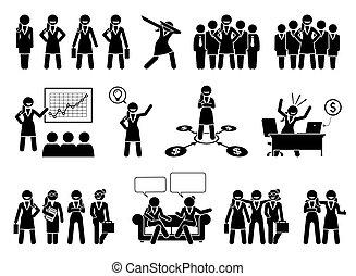 עסק, דמויות, pictogram., מקצועי, או, אישת עסקים, הדבק, גברת