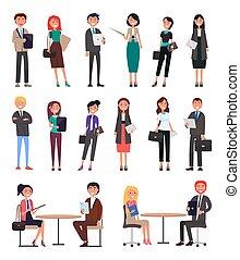 עסק, וקטור, אוסף, דוגמה, אנשים
