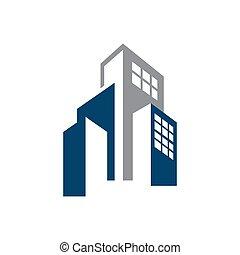 עסק, וקטור, חברה, לוגו, בנין, סיגנון, רכוש, גרפי, של איגוד מקצועי, נדלן, אמיתי