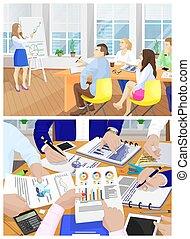 עסק, וקטור, פגישה, אוסף, דוגמה