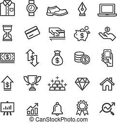 עסק, וקטור, icons., דוגמה, יסוד