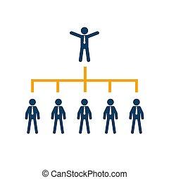 עסק, חברה, עץ, שרטט, ארגון, corporate.